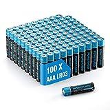 Poweradd Pilas Alcalinas AAA Baterías LR03 de 10 Años Larga Duración para Linternas, Relojes, Mandos a Distancia, Juguetes-100 Unidades de 1.5V