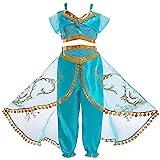 JK Disfraz de Princesa Jasmine con Lentejuelas para niñas, Vestido de Princesa Aladdin Jasmine para Fiesta de Halloween para niños (120cm)