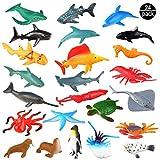 OOTSR Animales de Juguete, Surtido de 24 Mini Figuras de Animales Marinos de Plástico, Fauna Submarina Realista para Jugar en el Baño, Fiesta Educativa del Mar, Adorno de Tarta o Cupcake