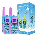 Kearui Walkie Talkie Niños, 2 Pack Walkie Talkie para Niños 8 Canales LCD Pantalla VOX Larga Distancia 3KM, Linterna Incorporado Juguete Regalos para Niños de 3-12 Años (Púrpura)