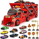 Aoskie Camion Transportador de Coches con 8 Coches Pequeños, Coches Juguetes Regalo para Niños 3 4 5 Años