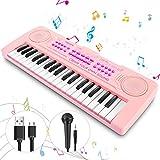 Magicfun Mini Teclado Electrónico Piano Juguete, 37 Teclas Teclado Piano con Micrófono, Sonidos de Animales, Batería y Tempo, Musical Instrumento Educativo, Regalo a Los Niño de 2 3 4 5 años