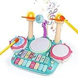 Tambor Infantil - Instrumentos Musicales Infantiles Batería Juguete con Microfono Canciones Infantil Kit de Bateria Musical Piano Xilófono Idea de Regalo Juguetes para Bebe Niños niña 3 4 5 6 Años
