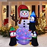 YQing 183cm Muñeco de nieve inflable de Navidad, Grande Muñeco de Nieve Hinchable Navidad Exterior Decoracion con LED Luces Inflatable Snowman Fiesta Jardín Decoración, Europeo Enchufe