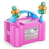 Dr.meter Bomba Eléctrica Inflar Globos, Bomba portátil de Doble Boquilla Ideal para Fiestas, Bodas, cumpleaños, Actividades promocionales y decoración de Fiestas (Verde y Naranja (Rosa + Azul)