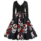 Disfraz Halloween Mujer Talla Grande Disfraces Halloween Mujer Vestido Talla Grande de Manga Larga Lolita Dress (Negro, XL)