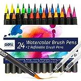 Juego de rotuladores QBIX Brush, 24 rotuladores, incluidos 2 rotuladores vacíos y 16 hojas de papel de acuarela, para rotulación a mano, caligrafía, diario de viñetas y acuarela.