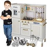 Kinderplay Gran Cocina Juguete Madera Para Niños – Dos Niveles de Altura, Iluminación LED, Accesorios, Efectos de Luz y Sonido, Cocina Juguetes de Madera, Modelo GS0060