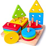 Rolimate Juguetes para Niños Pequeños Apilador Geométrico De Madera, Stack & Sort Board Tablero para Apilar y Clasificar, Juguetes Educativos Montessori Cumpleaños para Niños Niñas Bebés 2 3 4+ Años