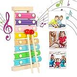 WELLXUNK Xilófono Juguetes,Musicales Xilófono de Madera,Instrumento Musical de Percusión Mejor día Cumpleaños Regalo,para Niños de Entre 3 y más