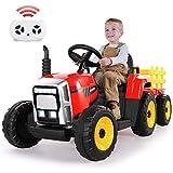 METAKOO Tractor Eléctrico con Remolque, Vehículo Eléctrico de Batería 12V 7Ah para Niños, Control Remoto 2.4G, 2+1 Cambio de Marchas, Bocina, Bluetooth, USB, Reproductor MP3, Faros de 7 LED - Rojo