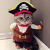 Idepet Pirata del Caribe Disfraz de Gato Funny Dog Ropa para Mascotas Traje Corsair Viste a la Fiesta Ropa de Fiesta para Perros Gato Plus Sombrero (XL)