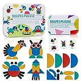 ZWOOS Tangram Madera Formas y Colores Puzzles de Madera 36 Montessori Puzzle de Madera + 60 PCS Diseño Tarjetas de Apilamientos Juegos y Juguetes Educativos Clasificación de la Infancia