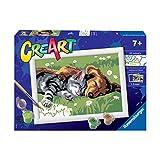 Ravensburger 289301 CreArt - Gato y Perro, Pintura por Números, Juego Creativo para Niños y Niñas, Edad Recomendada 7+