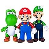 AINOLWAY 3pcs / Set Super Mario Toys - Figuras de Mario y Luigi - Figuras de acción de Yoshi y Mario Bros Figuras de Juguete de PVC de Mario