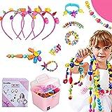 Ucradle Pop Beads, 550pcs Niños Bricolaje Conjunto de Cuentas DIY Kit Pulsera Anillo de Collar Juguetes Juego de Hacer Bisuteria Regalos de Cumpleaños de para Niñas 3+ Años