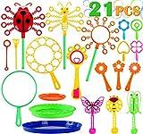 Toyssa Pompas de Jabon 21 Piezas Burbujas de Jabón Kit de Varita de Burbujas Creativo Maquina de Burbujas para Niños y Adultos Juegos Verano al Aire Libre y Fiestas de Cumpleaños