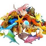 YeoNational Toys Animales de Juguete, Surtido DE 52 Mini Figuras de Animales Marinos de Plástico, Fauna Submarina Realista para Jugar en el Baño, Fiesta Educativa del Mar, Adorno de Tarta o Cupcake