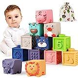 Luclay Bloques Apilables para Bebés 6 Meses 1 2 3 4 años ,Cubos Juguetes Bebe para Masticar la Dentición Juguetes Educativos para el Baño del Bebé Juegue con números, Formas, Animales, Formas