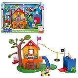 Jazwares PEP0604 – Casa del árbol de Peppa Pig y castillo de Schorsch's como juego de castillo de juguete y castillo con 3 figuras y accesorios, casa de juguete con luz y sonido