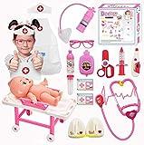 PHYLES Medicos Juguete, Juguetes de Medico para Enfermera Disfraz Juegos de Imitacion, Doctora Juguetes para Accesorios con Luces y Sonidos, Juego de rol Regalos para Niños Mayores de 3 años(Rosa)