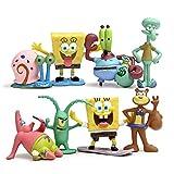 YEKKU Juguetes de muñecas de dibujos animados, 8 piezas de anime muñeca de Bob Esponja de dibujos animados juguete lindo pulpo figura de adorno de coche adorno para niños regalo para vacaciones
