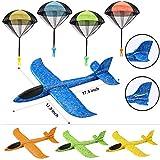 JOYIN Paquete de 4 Aviones de Espuma 2 en 1 y Juego de 4 paracaídas, Aviones de Planeador de Vuelo, Grandes Aviones de Espuma de Lanzamiento y paracaídas, Juguetes voladores para niños al Aire Libre