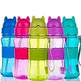 Botella de Agua Niños y Niñas Sin BPA Tritan Botella de Agua Deporte con Pajita y Correa para Infantil, Escuela, Corrida, Senderismo y Actividades al Aire (Rosa)