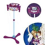 LEXIBOOK- Frozen Altavoz pie para niños, Juguete Musical, Altura Regulable, Efectos Luminosos, 2 microfónos incluidos, mp3, Enchufe Cable de Entrada Auxiliar, Violeta/Azul