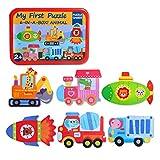 SIPLIV Rompecabezas Caja de Hierro para niños y niños de 2 a 5 años de Edad, Juegos y Juguetes de educación temprana, 6 Piezas por Juego - Cohete