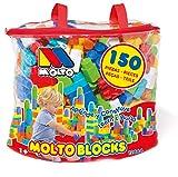 Bolsa Molto Blocks 150 pcs. Juguetes bebés 1 año. Juguete de Bloques construcción para niños y niñas. Juguetes educativos. con Bolsa para Guardar los Blocks