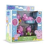 Peppa Pig Juguete de baño con 4 figuras de Peppa Pig que flotan en agua; Para bebé, niño y niña de +18 meses