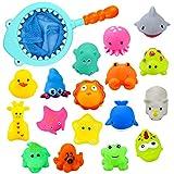 aovowog Juguetes Baño Piscina Juguete de Natación Bañera Animalitos Flotantes Coloridos Red de Pesca para Bebés Niños Niñas(18 Piezas)