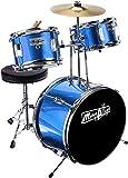 Music Alley Kit de 3 piezas de tambor secundaria para los niños con platillos de batería del pedal de heces y los palillos del tambor, color Azul Metálico