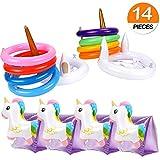 vamei 2 piezas Inflable con Anillos de unicornio para niños adultos con 8 piezas Anillos de lanzamiento4pcs Brazaletes de natación de unicornio Amigos y familias Juegos de Lanzamiento para Fiestas