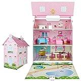 WOOMAX - Casita de muñecas de madera casita con asas, 32x22x40 cm, 3 plantas, 7 accesorios, casita de madera, para muñecas, a partir de 3 años (85295)