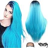 Peluca azul de Ombre Pelucas de disfraces de Halloween Parte media recta larga Raíces oscuras Pelucas de cosplay sintéticas para mujeres