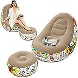 Sofá hinchable Lonedy, sillón familiar con cojín hinchable, patrón de graffiti, sofá plegable al aire libre, apto para el descanso en casa o en la oficina (gris)