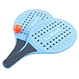 Juego de Palas de Playa, Raqueta de Madera para Exteriores, Juego de Pelota para Parque o jardín, Raquetas de Tenis de Playa (Azul)