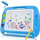 lenbest Pizarra Magnética para Niños, Doodle Magnético Infantil, Almohadilla Magnética Borrable para Niños, Pizarra Educativo, con 3 Sellos de Figuras Magnéticos, 4 Colores Llamativos (Color Azul)
