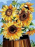 TAHEAT Pintura por números para Adultos, Kit de Pintura al óleo de Lienzo acrílico para Bricolaje para niños Principiantes, Girasoles de 16 x 20 Pulgadas, 1 patrón de Flores con Pinceles sin Marco