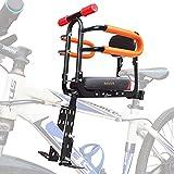 XIEEIX Asiento de bicicleta para niños de montaje frontal, plegable, con respaldo de asiento de dirección, asiento ajustable y pedal, para diferentes tipos de bicicletas