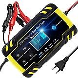 NWOUIIAY Cargador de Batería 8A 12V/4A 24V Mantenimiento Automático Inteligente Pantalla Táctil con Múltiples Protecciones para Coche Moto ATV RV Barco