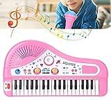 Jacksing Piano con Teclado eléctrico, 37 Teclado, Instrumento de Piano eléctrico, Juguete Educativo, Piano de Aprendizaje portátil con micrófono para niños(Rosado)