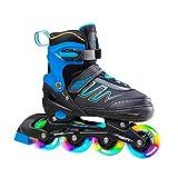 Hiboy Patines en línea ajustables con todas las ruedas iluminadas, patines para exteriores e interiores, para niños, niñas y principiantes (mediano: 35-38), color azul