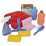 Playkidz - Juego de carrito de limpieza, 10 piezas, incluye spray, esponja, escobilla de goma, cepillo, carrito organizador - Juego de limpieza realista Play Helper, recomendado para mayores de 3 años