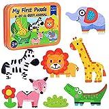 Puzzles de Madera Niños,Juguetes Bebes para 1 2 3 4+ año,Animales Marini Rompecabezas, Juguete Educativo Montessori,Educativos Rompecabezas Cognitivo, Cumpleaños Niñas Niños (Animal)