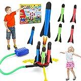 Cohete Juguete, Rocket Juegos al Aire Libre para Niños, Juguetes de Juegos de Jardín con 6 Cohetes de Espuma, Stomp Juguete, Regalo de cumpleaños de Navidad para niños y niñas de 3 4 5 6.. 12 años