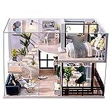 Fsolis Casa de Muñecas en Miniatura de Bricolaje con Mueble, Casa en Miniatura de Madera 3D con Cubierta Antipolvo y Movimiento Musical, Kit de Regalo Creativo de Casas para Muñecas L32