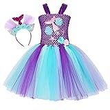Jurebecia Disfraz Sirenita Princesa Sirena Fiesta de Disfraces Pequeña Niñas Vestido de Tutú Outfit con Accesorio Halloween Morado 6-7 Años